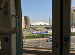 View of the o2 arena on the DLR heading to our hotel